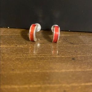 Orange Kids Half Hoop Earrings